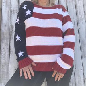 VTG Newport News Jeanology American Flag Sweater
